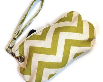 Clutch Wristlet Handbag Detachable Strap, Green and Cream Chevron, Ready To Ship