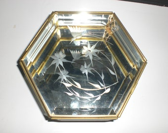 Brass and glass box, Display case, 6 sided,beveled glass, large display, etched glass, terrarium,humming bird, flowers