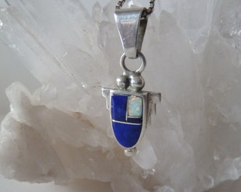Lapis and Opal Inlay Pendant and Earrings, Southwestern Sterling Jewelry
