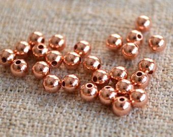 1000pcs Copper Metal Beads Solid Shiny Round 4mm