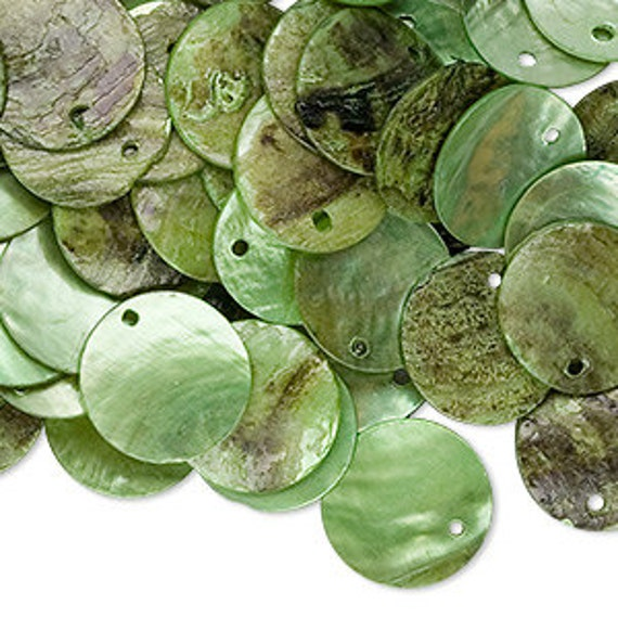 100pcs Mussel Shell Pendant Natural Drop 15mm Round Lime