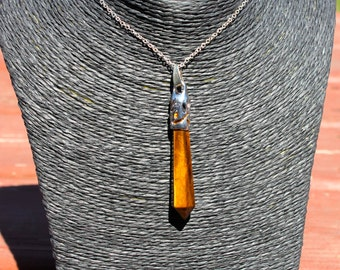Beautiful Tiger's Eye Pendant/ Pendulum/ Wand/ Aura/ Reiki/ Feng Shui/ New Age Jewelry