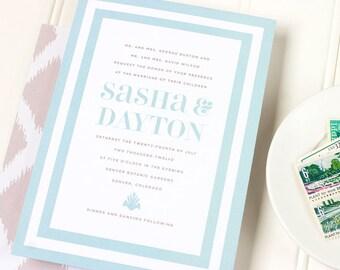Striped Wedding Invitation - Beach Letterpress Wedding Invite - Ikat Letterpress, Foil Stamp or Flat Printing - Martinique - DEPOSIT