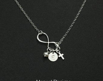 Easter Jewelry Gift, Personalized Silver Infinity Necklace, Charm Necklace, Custom Birthstone, Tiny Sterling Cross, Custom Initial Necklace