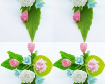 Miniature Polymer Clay Flowers Supplies Bouquet for Dollhouse 4 bunches