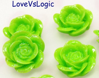 10 Glitter Flower Lucite Cabochon.Fresh Green Tone