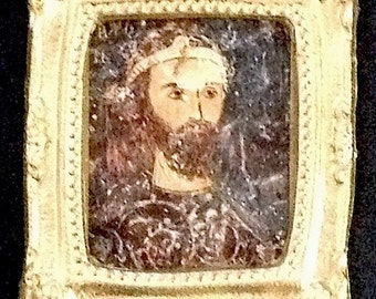 Art Dollhouse Miniature Print with gold colored frame, of Tsar Kaloyan, 1:12 scale wall art