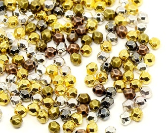 100 Mixed Color Brass, Faceted Oval Beads, 4mm x 3.5mm Nickel Cadmium Lead SAFE Tibetan Style