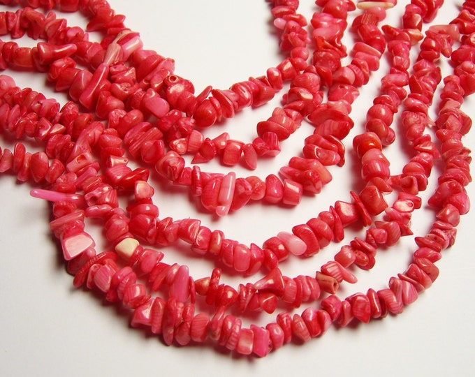 Pink coral -  chip stone beads - full strand - 36 inch - A quality - PSC16