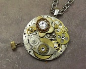 Steampunk Pocket Watch Plate Necklace, Gears, Round Stainless Steel