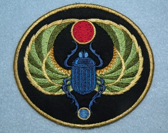 "Egyptian Scarab Iron on Patch 4.56"" x 4"""