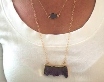 Labradorite bezel necklace / 14k Gold filled labradorite necklace/ Freeform Labradorite