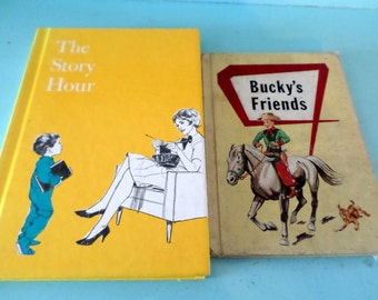 Children's School Readers Bucky's Friends 1957 and The Story Hour 1980 set of 2 vintage books Bucky the cowboy with amazing illustrations