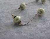 Green Pearl, Sand Opal Swarovski and Bali & Argentium Silver Necklace, June Birthstone