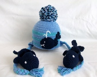 Nautical Whale Crochet Hat and boots-Whale Beanie Hat and booties- baby whale hat - baby boy hat - boy photo prop -Dark blue whale