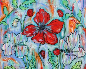 Red Poppy Poppies Art Original painting  by Melanie Douthit