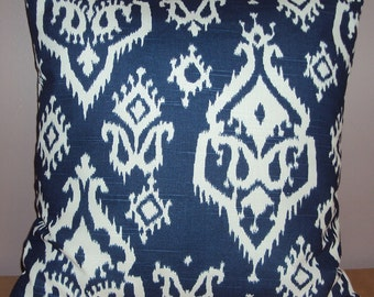Navy Blue and White Paisley Ikat Decorative Pillow Cover - Available In 3 Sizes