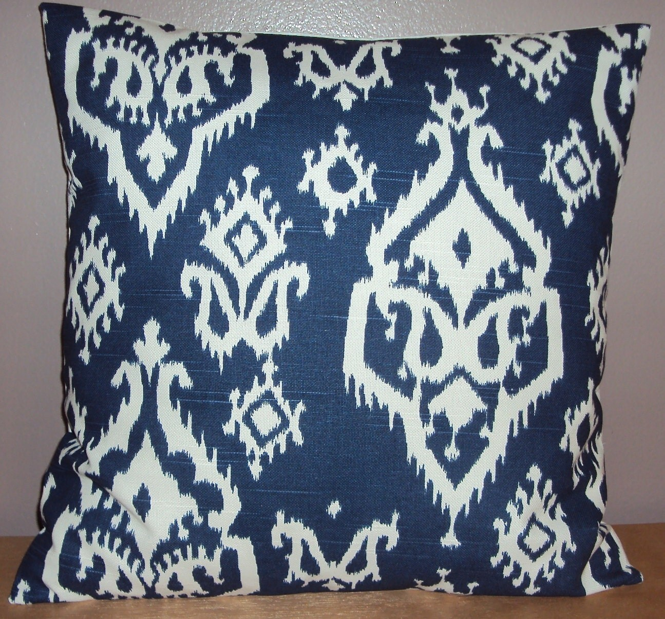 Navy Blue and White Paisley Ikat Decorative Pillow Cover