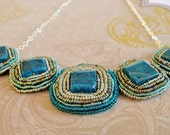 Apatite gemstone, sterling silver, seed beaded bib, collar, statement necklace, blue, gold, silver, aqua, square, chain, hand beaded