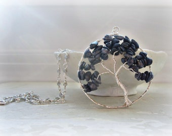 Sapphire Necklace, Tree Pendant, Wire Wrapped Necklace, Sterling Necklace, Labradorite Necklace, September Birthstone, Nature Inspired
