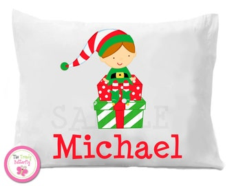 Christmas Elf Pillowcase , Children's Personalized Pillow Case Boy or Girl
