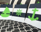 Nautical Nursery Decor Sailboat Anchor and Captains Wheel Navy and White Stripes Navy and Green - set of 3 8x10 paintings