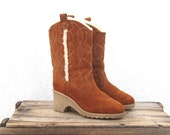Vintage Rust Suede and Shearling Platform Ankle Booties Ladies Size 8