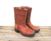 Vintage Children's Distressed Cognac Leather Campus Cowboy Boots Kid size 9.5
