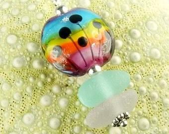 Eco Friendly GENUINE Sea Glass Necklace Rainbow Jewelry