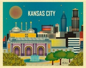 Kansas City Skyline Art Print, Kansas City Wall Art, Kansas Missouri Horizontal, Kansas City Art Print Gift, Loose Petals style E8-O-KAN