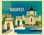 Budapest Skyline Art Print, Chain Bridge, Hungary Travel Poster, Gift, Budapest horizontal wall art, Budapest gift, Loose Petals - E8-O-BUD