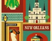 New Orleans Print, New Orleans Art, New Orleans Map, NOLA Art, New Orleans decor, Big Easy, Jazz Print, Loose Petals City, style E8-O-NOLA