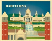 Barcelona Skyline art print, Spain Horizontal Print , Barcelona Artwork, Spanish wall decor, Barcelona gift, Loose Petals,   style E8-O-BAR