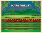 Napa Valley Art, Napa Train Print, Napa CA Skyline, Napa Valley Wall Decor, Horizontal Art, Wine Gift, Loose Petals  Print- style E8-O-NAP
