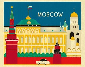 Moscow Print, Russia Travel Wall Art, Moscow Wall Art, Kremlin Print, Horizontal Moscow Artwork, Moscow Nursery, Moscow Gift, E8-O-MOS
