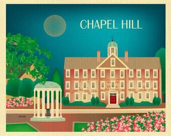 Chapel Hill Print, North Carolina Skyline Art, Horizontal Print, Chapel Hill Dorm art, Chapel Hill Wedding, Graduate Gift, style E8-O-CHA-NC