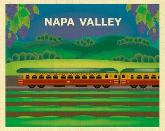 Napa Valley Art, Napa Train Print, Napa CA Skyline, Napa Valley Wall Decor, Horizontal Art, Wine Gift, Loose Petals  Print- style E8-O-NAP