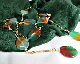 Green & Red Agate, Clear Swarovski Crystals, and Gold Chain Long Necklace