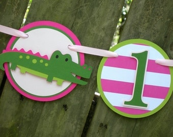 I am 1 Hot Pink and Green Alligator Birthday Banner for First Birthday