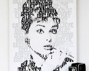I Believe Typographic Fine Art Print - Audrey Hepburn, motivational words, bedroom wall poster, monochrome wall, gallery wall, inspirational