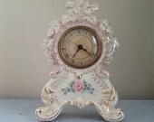 Pink and Gold China Clock / 1930's Porcelain Clock  / Vintage Mantel Clock / Pink Rose / Gold Leaf / Pretty Mantel Clock / kisvteam