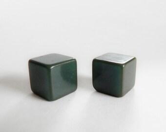 Bakelite Buttons Teal Blue Cubes
