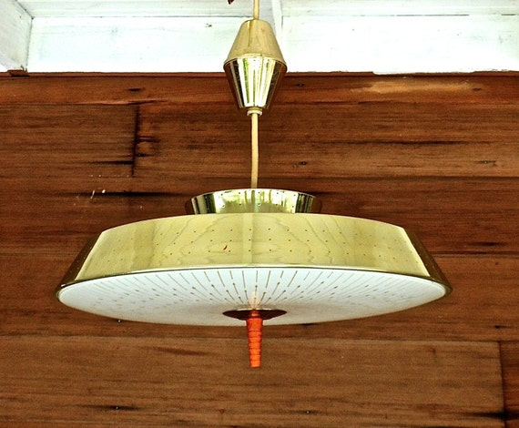 Mid Century Lighting Fixture: Flying Saucer Light Fixture 1950s Mid Century Atomic Gold