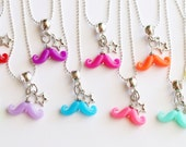 Mustache Party Favors Birthday Rainbow Birthday Necklaces Party Favor 10 Necklaces Rainbow colors Kids Jewelry Photobooth Necklace