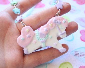 Fairy Kei Carousel Pony Necklace Pastel Pink