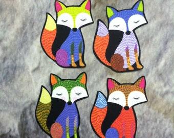 Colorful sleepy FOX iron on applique set of 4