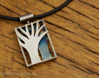 Reversible Twins Trees Pendant: Fabricated Sterling Silver with Gorgeous Patina