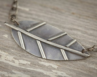 Little Leaf Pendant in Fabricated Sterling Silver