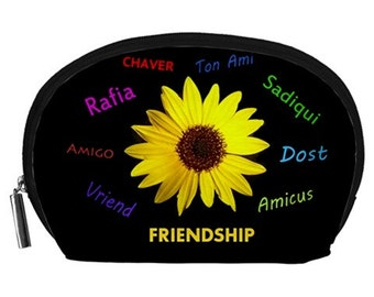 Friendship Cosmetic bag, makeup pouch, zippered bag, coin purse, NirvanaRoad bag, Daisy pouch, Cool bag, zipper pouch, NirvanaRoad