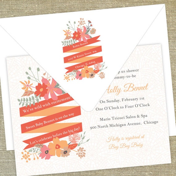 floral baby shower invitations sip and see invitations envelopes